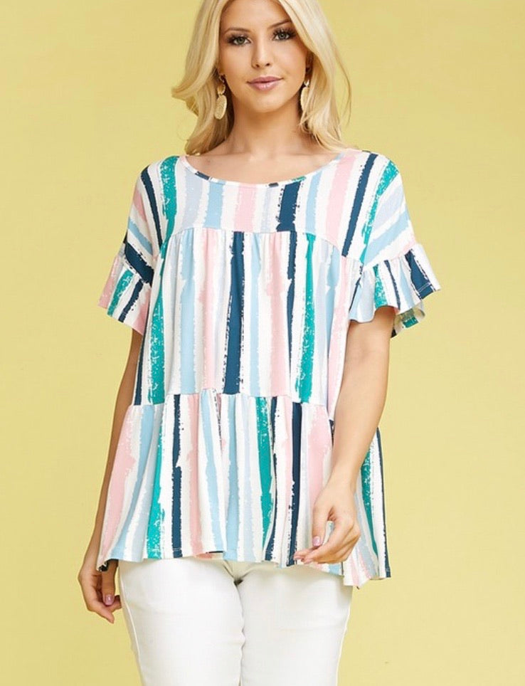 Blue Striped Ruffle Top