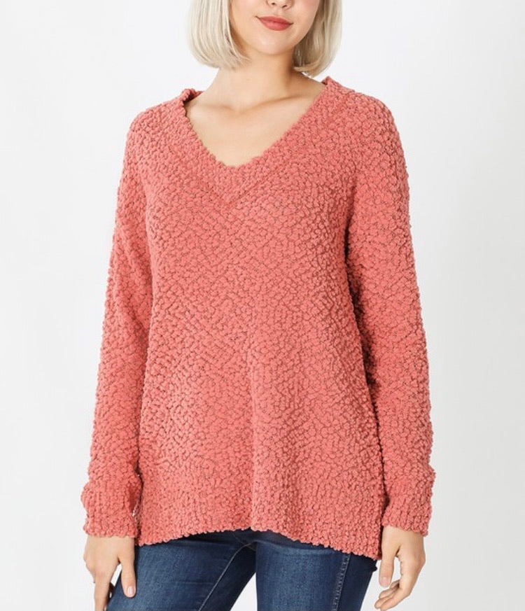 Ash Rose V-Neck Popcorn Sweater