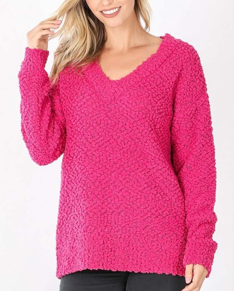 Hot Pink V-Neck Popcorn Sweater