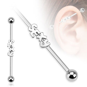"Pierce2GO 2 Pcs 14G Stainless Steel Industrial Piercings Centered Sexy and Fuck Me 1 1/2"" Barbell Length"