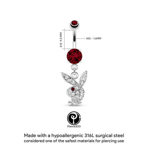 "Playboy Bunny 14G Surgical Steel Paved Gem Dangle Belly Button Ring CZ Stone Mixed Colors 3/8"" Barbell Body Piercing Jewelry Woman"