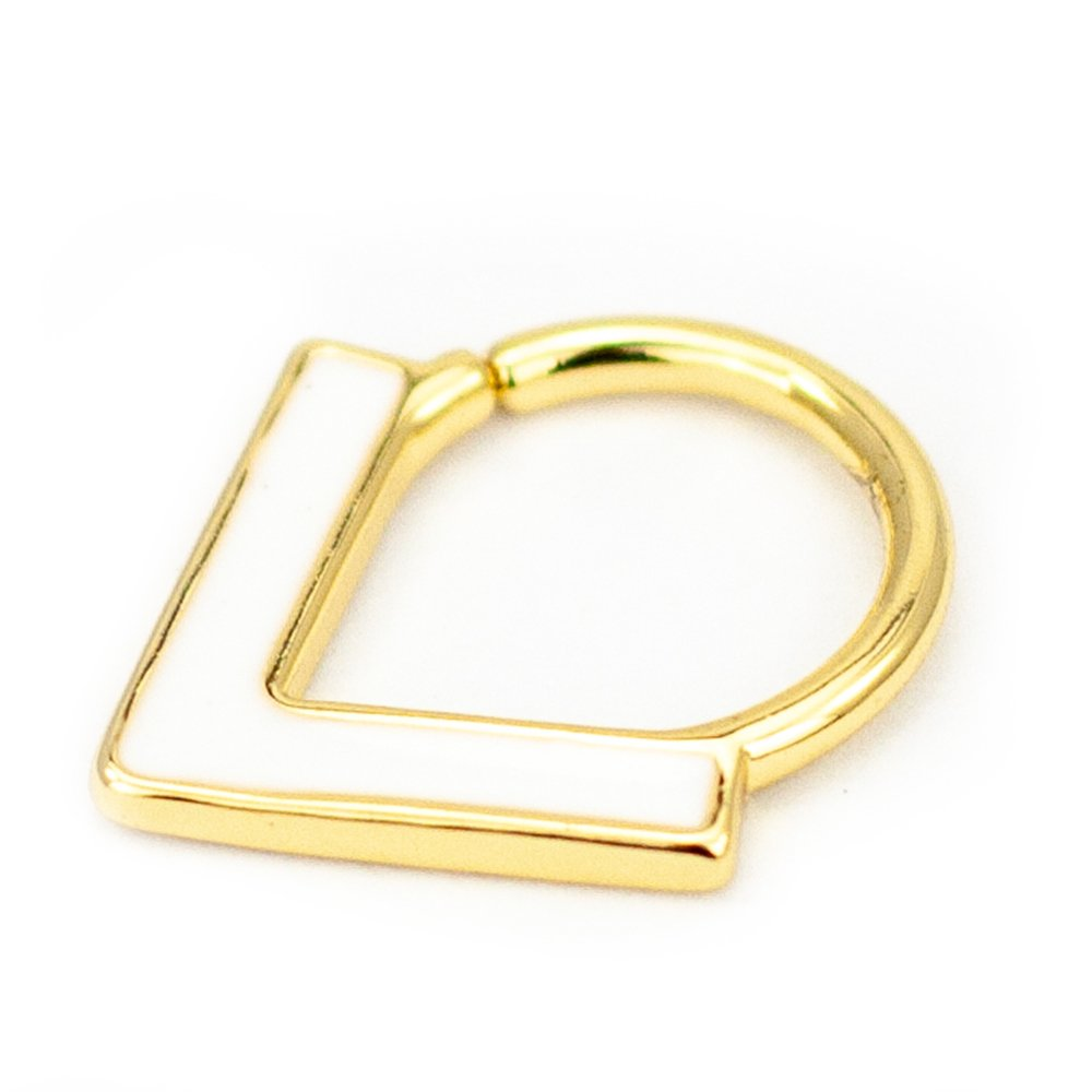 Pierce2GO Gold Septum Hoop Ring with White Enamel Chevron - 316L Surgical Steel - 16 Gauge - 3/8