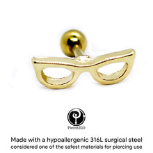 "Load image into Gallery viewer, Pierce2GO 16G 1/4"" Gold Sunglasses Cartilage Earring Tragus Ring Stud Body Piercing Jewelry Barbell"