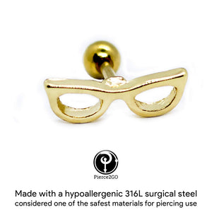 "Pierce2GO 16G 1/4"" Gold Sunglasses Cartilage Earring Tragus Ring Stud Body Piercing Jewelry Barbell"