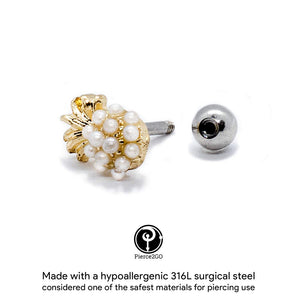 "Pierce2Go Gold 16G 1/4"" Gold Pineapple Pendant with Acrylic Pearls Cartilage Earring Stud Ear Helix Conch Body Piercing Jewelry Women"