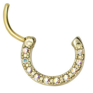 "Pierce2GO 16G Gold Stainless Steel Septum with Anodized Stones Clicker Segment Nose Hoop Ring 3/8"" Body Piercing Jewelry"