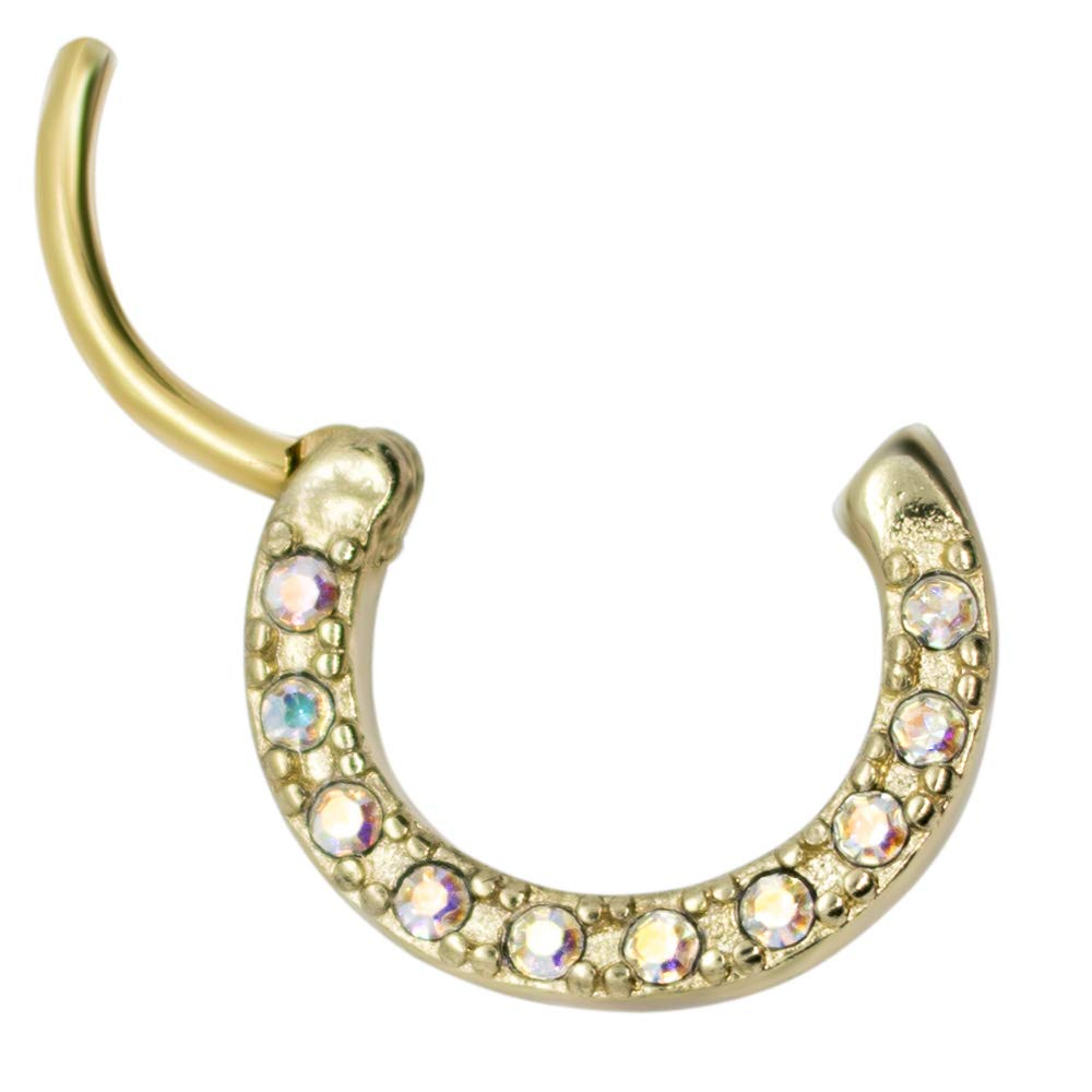 Pierce2GO 16G Gold Stainless Steel Septum with Anodized Stones Clicker Segment Nose Hoop Ring 3/8