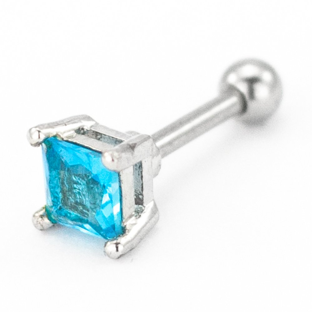 Pierce2Go Pink Square CZ Stone Cartilage/Tragus Ring - 316L Surgical Steel (Blue, 16 Gauge - 1/4