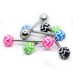 "Pierce2GO 5 Pcs 14G Stainless Steel Chevron Barbell Rings Steel Tongue Ring 5/8"" Barbell"
