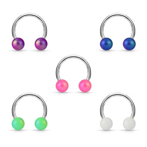 "Pierce2GO 14G 5 Pcs Set Stainless Steel Horseshoe Rings with Iridescent Balls 3/8"" Diameter"