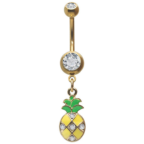 Dangle Belly Button Ring Pinapple Pendant Accented with Clear Stones