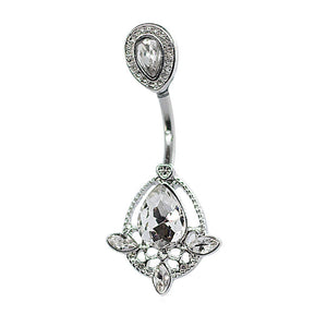 "Pierce2GO 14G Belly Button Ring Piercing with Clear Crystal Teardrop Pendant 7/16"" Barbell"