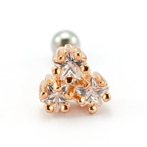"Pierce2go Clustered Rose Gold Stars Cartilage/Tragus Ring with Clear Stones - 16 Gauge - 1/4"" Length"