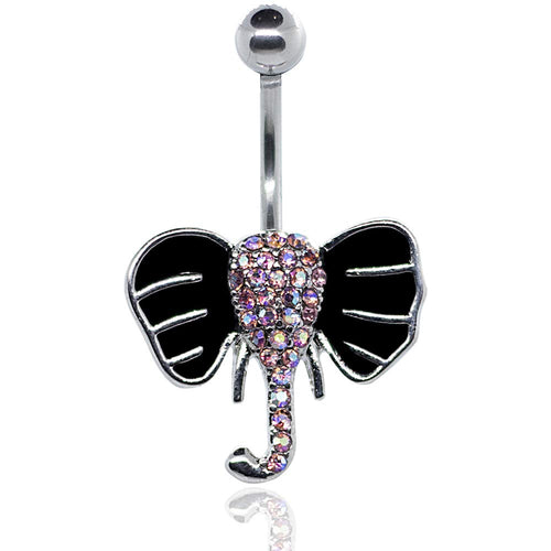 Pierce2GO Silver 14G Elephant Belly Button Ring Body Jewelry Piercing Navel Ring Surgical Steel 7/16