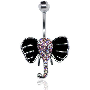 "Pierce2GO Silver 14G Elephant Belly Button Ring Body Jewelry Piercing Navel Ring Surgical Steel 7/16"" Barbelll"