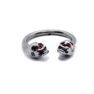 "Pierce2GO Silver 16G 14G 4Pcs 316L Stainless Steel Skull Red Stone Eyes Captive Bead Ring and Horseshoe 3/8"" Ring Body Piercing Jewelry for Women"
