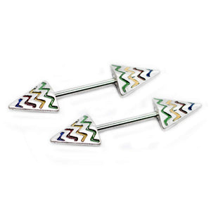 "Pierce2GO 14G Stainless Steel Rainbow Chevron Arrows Nipplerings Piercing Women 9/16"" Barbell"