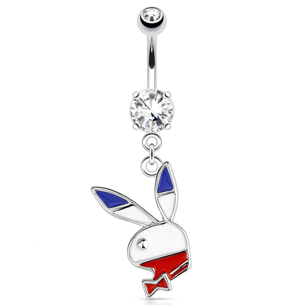 14G Playboy American Flag Dangle Belly Button Ring 3/8