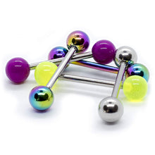 "Load image into Gallery viewer, Pierce2GO 5 PCS 14G Mix-Color Stainless Steel Anodized Straight Barbell Tongue Rings Bars Piercing 5/8"" Length"