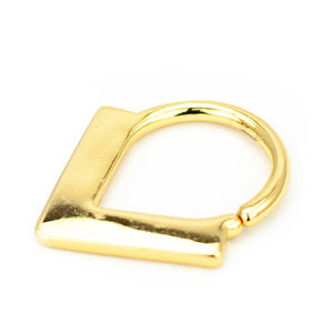 "Pierce2GO Gold Septum Hoop Ring with White Enamel Chevron - 316L Surgical Steel - 16 Gauge - 3/8"" Length"