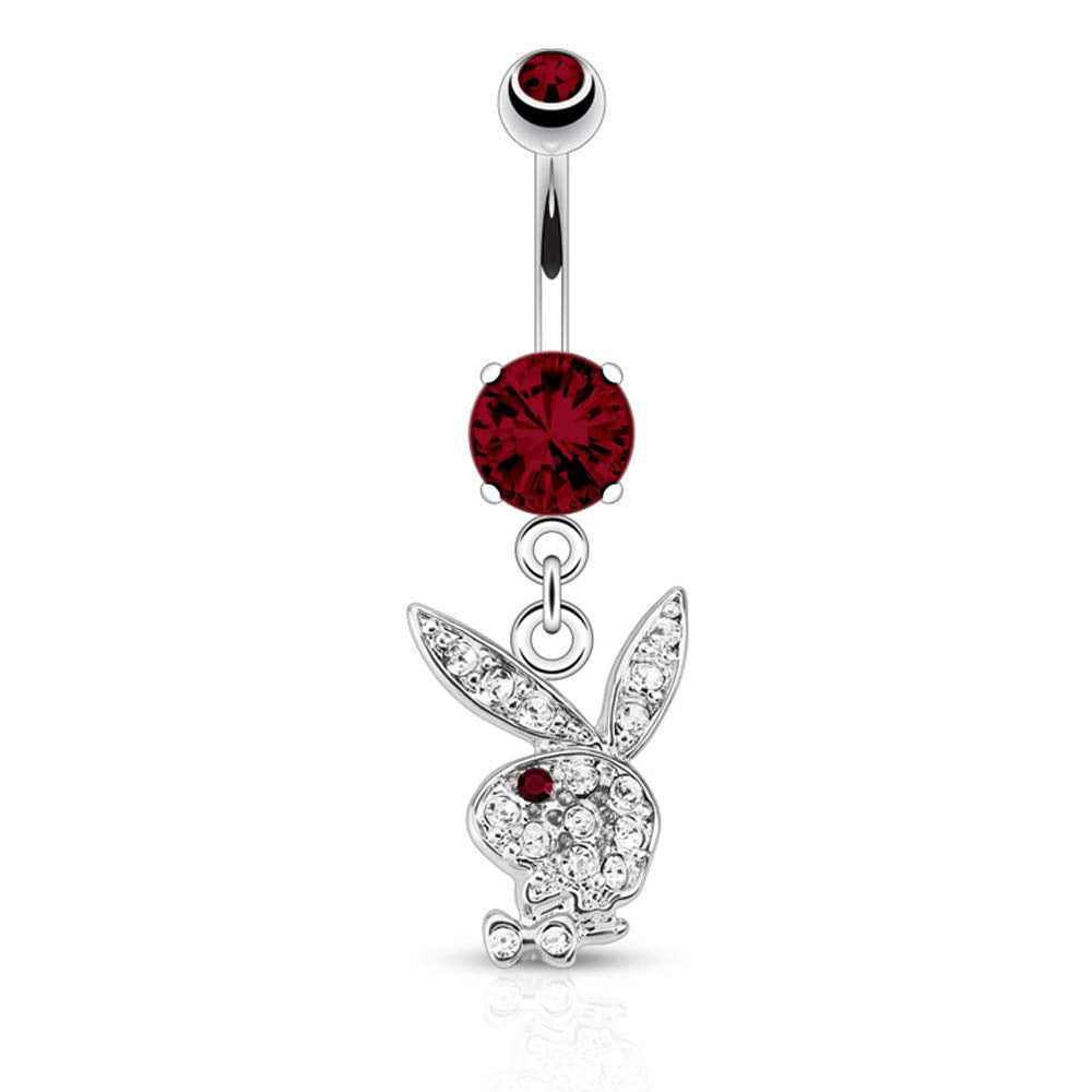 Playboy Bunny 14G Surgical Steel Paved Gem Dangle Belly Button Ring CZ Stone Mixed Colors 3/8