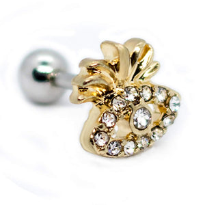 "Pierce2Go Gold 16G 1/4"" Cartilage Earring/Tragus Ring Stud Gold Eye with Pineapple Top Accented with Clear Stones Piercing"