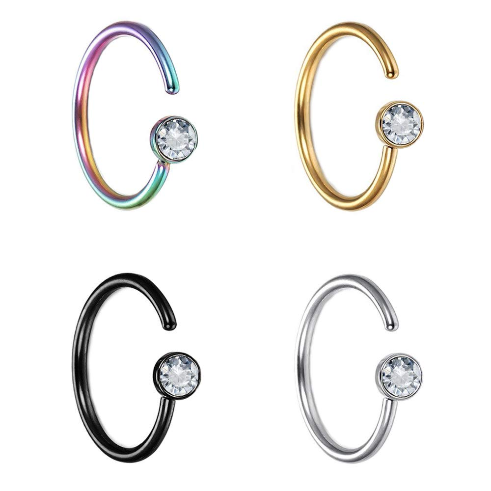 Pierce2GO 4 Pcs 20G 316L Stainless Steel Nose Rings Hoop Tragus Cartilage Helix Ring Lip Septum Piercing Set 8 MM