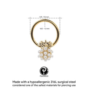 "Pierce2GO Gold 16G 2Pcs 316L Stainless Steel Pineapple with Acrylic Pearls Captive Bead Ring 3/8"" Ring Body Piercing Jewelry for Women"
