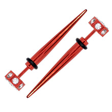 "Load image into Gallery viewer, Pierce2GO Red Faux Taper with Clear Stones - 16 Gauge - 1/4"" Barbell Length"