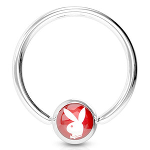 "Pierce2GO 2 Pack - Red Playboy Nipple Ring, Licensed - 316L Surgical Steel, 14 Gauge - 1/2"" Diameter"