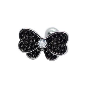 "Pierce2GO Black Bow Cartilage/Tragus Ring with Clear Stone - Surgical Steel - 16 Gauge - 1/4"" Barbell"