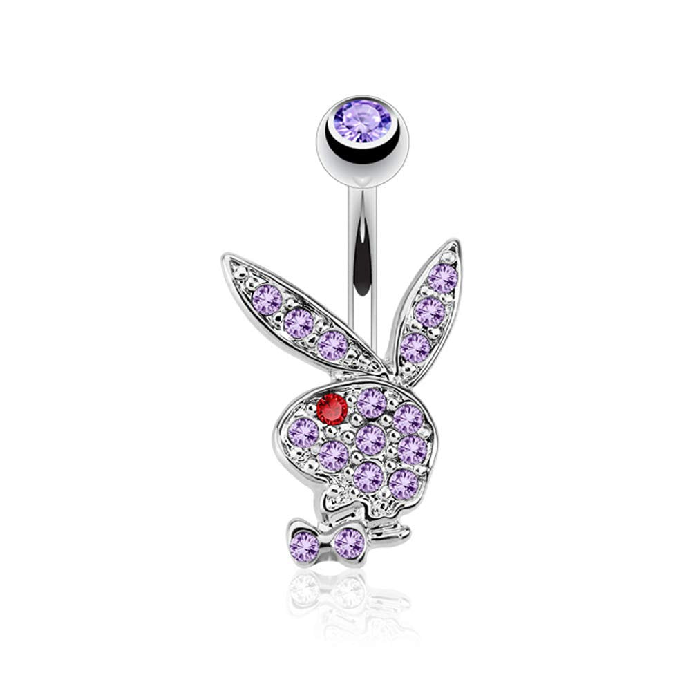 Pierce2GO Playboy 14G 316L Surgical Steel Belly Button Ring Mixed Colors 3/8