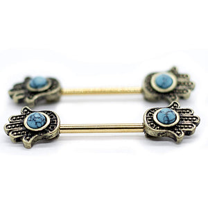 "Pierce2GO 14G Stainless Steel Hamsa Hand with a Light Blue Stone Nipplerings Piercing Women Nipple Ring 9/16"" Barbell (Gold)"