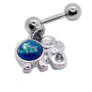"Pierce2GO Silver Elephant Cartilage/Tragus Ring with Blue Opal Stone - 16 Gauge - 1/4"" Barbell Length"