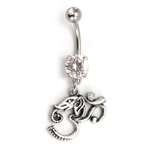 Pierce2go Silver OM Elephant Belly Ring with Clear Stone, 316L - 14 Gauge - 7/16