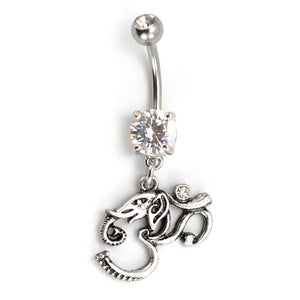 "Pierce2go Silver OM Elephant Belly Ring with Clear Stone, 316L - 14 Gauge - 7/16"" Barbell Length"