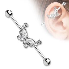 "Load image into Gallery viewer, Pierce2GO 14G 38MM Stainless Steel Industrial Barbell Ear Piercing Butterfly with a Clear CZ Stone 1 1/2"" Barbell"