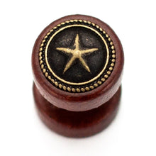 "Load image into Gallery viewer, Pierce2GO Wooden Faux Plug with Star - 16 Gauge - 1/4"" 316L Barbell (1 Pack)"