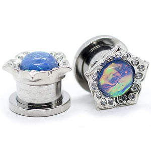Pierce2GO Surgical Steel Flower Ear Plugs Tunnels with Rainbown Opal Stone (00G / 10MM)