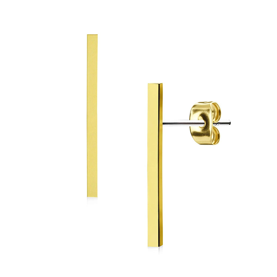 Pierce2go Pair of Gold Plain Long Bar Earring Studs - 316L Surgical Steel - 20G (0.8mm)
