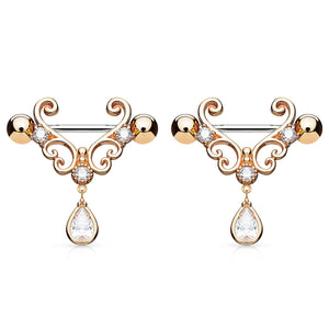 "Pierce2GO 14G Stainless Steel Filigree Dangle with CZ Stone Nipplerings Piercing Women 9/16"" Barbell Sold as a Pair"