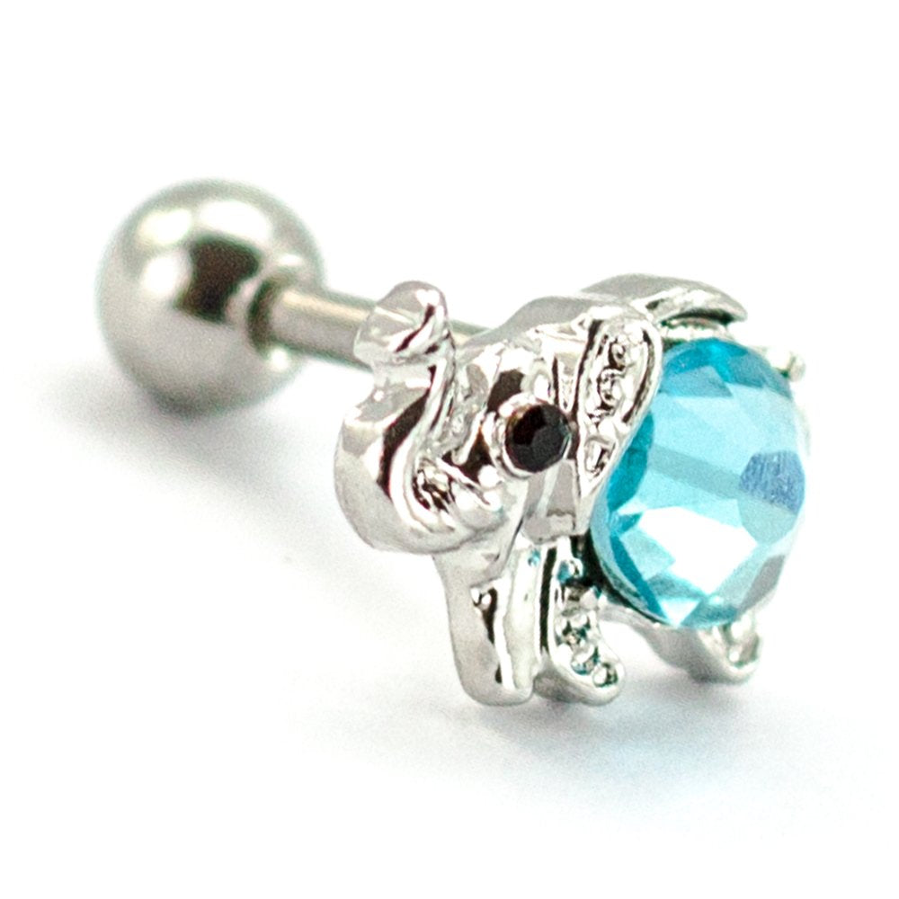 Pierce2go Silver Elephant Cartilage/Tragus Ring with Aqua Stone - 16 Gauge - 1/4