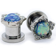 Load image into Gallery viewer, Pierce2GO Surgical Steel Flower Ear Plugs Tunnels with Rainbown Opal Stone (00G / 10MM)