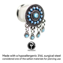 Load image into Gallery viewer, Pierce2GO Surgical Steel Silver Plug Earring Accented with Dangle Pendants Ear Plugs Tunnels Gauges Flesh Expanders Stretchers