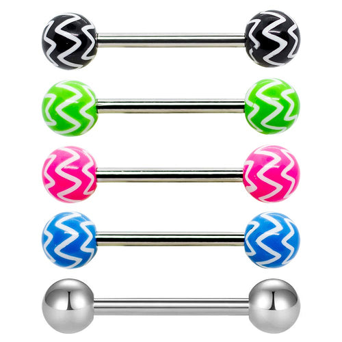 Pierce2GO 5 Pcs 14G Stainless Steel Chevron Barbell Rings Steel Tongue Ring 5/8