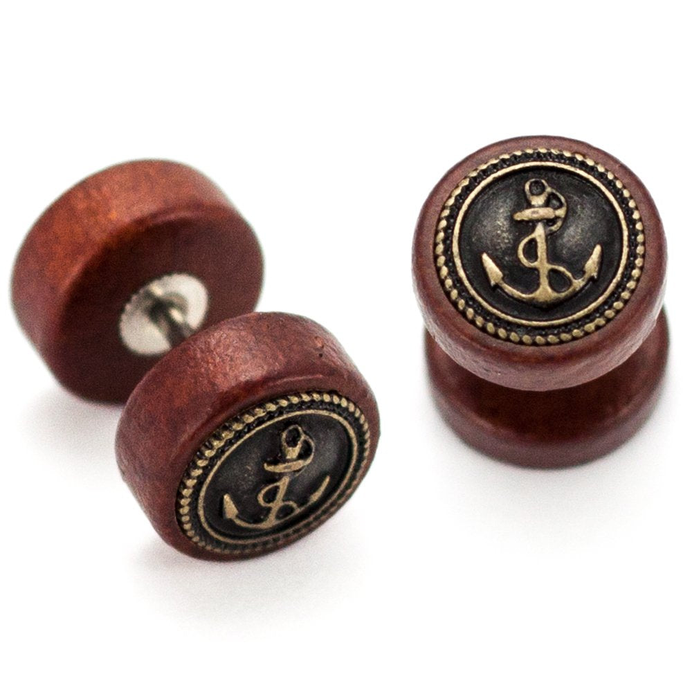 Pierce2GO 2 x Wooden Faux Plug with Antique Gold Anchor - 16 Gauge - 1/4