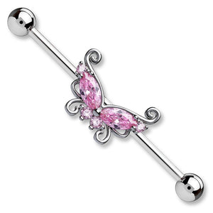 "Pierce2GO 14G 38MM Stainless Steel Industrial Barbell Ear Piercing Butterfly with a Clear CZ Stone 1 1/2"" Barbell"
