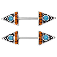 "Load image into Gallery viewer, Pierce2GO 14G Silver Stainless Steel Nipplerings Piercing Women Blue and Orange Stone Arrows 9/16"" Barbell Length"