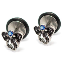 "Load image into Gallery viewer, Pierce2GO Elephant Faux Plug with Blue Stone - 16 Gauge - 1/4"" Barbell Length"