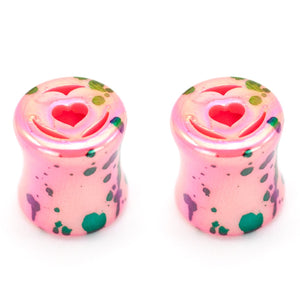 Heart Paint Splatter Plugs, Acrylic Ear Plug Set, 0 Gauge / 8mm